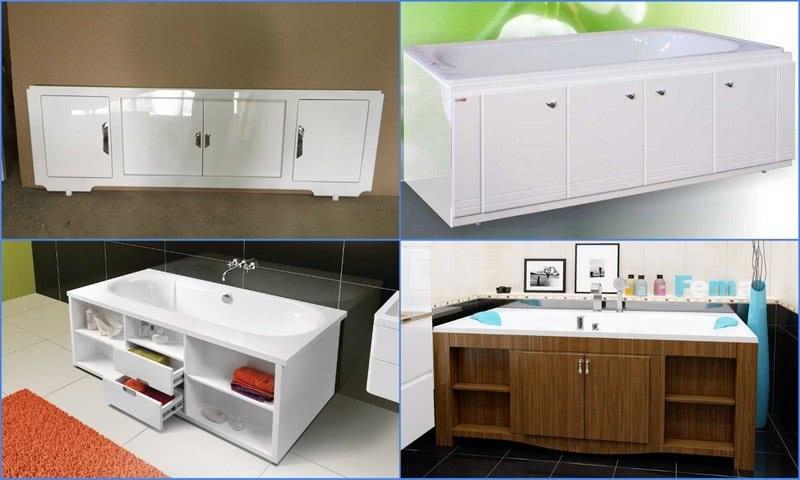 различные модели экранов в ванной