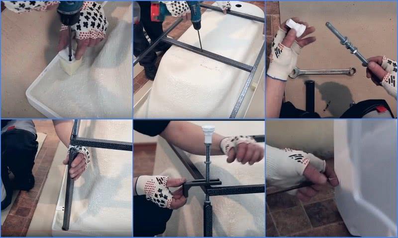 установка акриловой ванны на каркасе своими руками