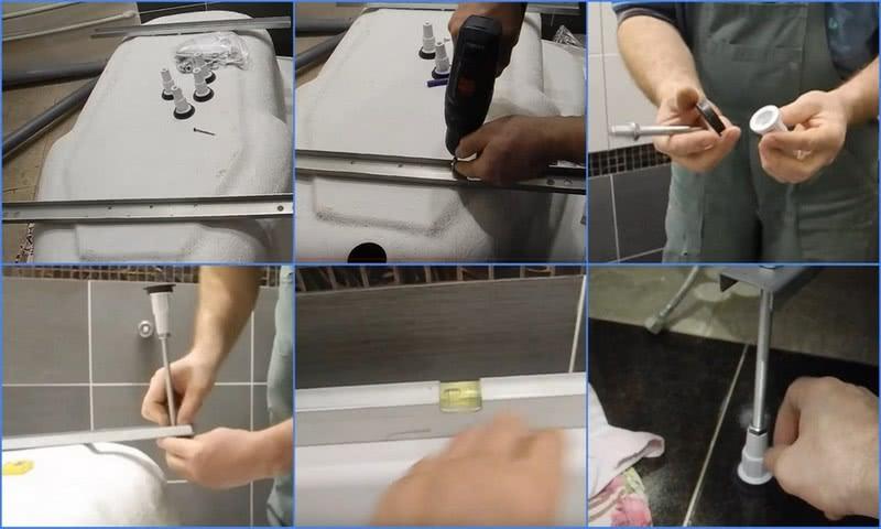 как установить акриловую ванну на ножках