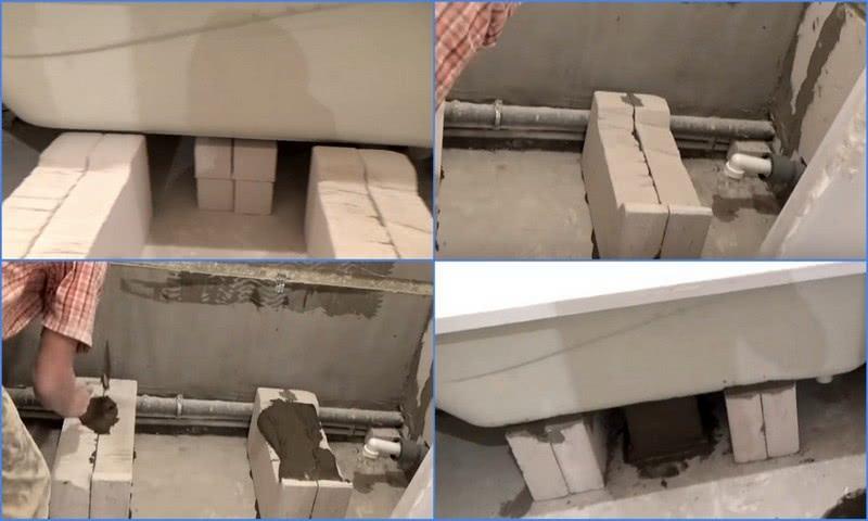 опора для ванны из газосиликатных блоков