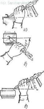 Расположение зубила при рубке в тисках