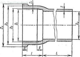 Чугунная канализационная труба с раструбом Таблица 11 Параметры чугунных канализационных труб (см. рис. 68), мм. Размеры раструбов и хвостовиков фасонных частей к чугунным канализационным трубам  69) приведены в табл. 12. Таблица 12 Размеры раструбов и хвостовиков фасонных частей к чугунным канализационным трубам (см. рис. 69), мм