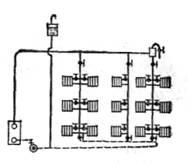 Схема однотрубной системы отопления с попутным движением воды В системах отопления с попутным движением воды