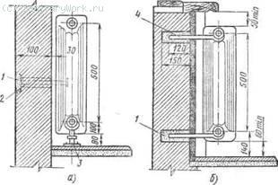 Установка радиаторов на гипсолитовой (а) и каменной (б) стенах