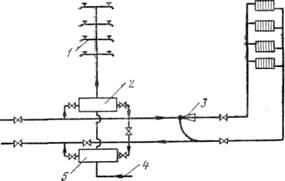 Схема теплоснабжения с двумя последовательно подключенными бойлерами -горячего водоснабжения