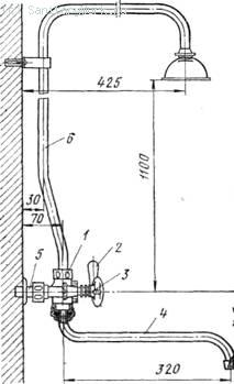 Общий смеситель для ванн и умывальников со стационарным душевым устройством