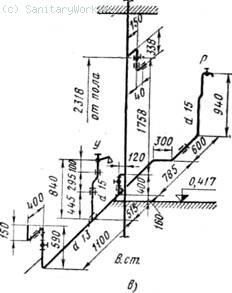 Схема монтажа водопровода в санитарно-техническом узле пятиэтажного жилого дома