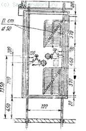 Схема пожарного стояка  Пожарный кран монтируют на расстоянии 1350 мм от пола, при установке двух кранов в одном шкафу один кран располагают на высоте 1350 мм от пола, а второй — ниже первого
