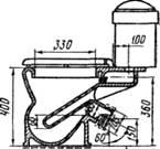 Козырьковый унитаз «Компакт» с косым выпуском под углом 60° В уборных общего пользования устанавливают напольные чаши меньшей высоты, чем унитазы.