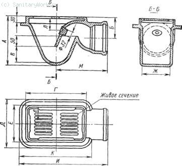 Чугунный эмалированный трап Кроме указанных применяют банные трапы без гидравлического затвора, которые устанавливают в полу бань или в помещениях, где на пол выливают много воды.
