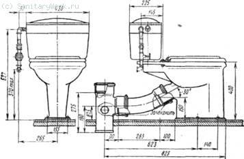 Установка тарельчатого унитаза с низкорасполагаемым смывным бачком Другой способ состоит в том, что унитаз присоединяется к канализационной сети с помощью переходного тройника, являющегося частью отводной линии.