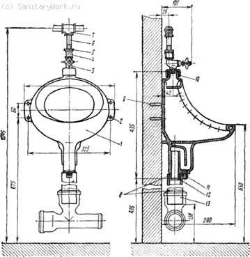 Установка настенного писсуара с цельноотлитым сифоном и писсуарным краном