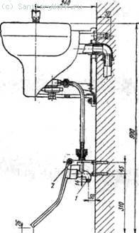 Установка настенного питьевого фонтанчика