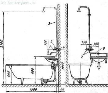 Установка ванны и умывальника с общим смесителем