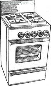 Плита газовая четырехгорелочная типа ПГ-4 Четырехгорелочная плита ПГ-4  241) выполнена в виде прямоугольной тумбы, лицевые поверхности которой покрыты силикатной эмалью белого цвета. Плита состоит из стола, духовки и сушильного шкафа. Стол плиты откидной