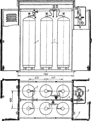 Групповая газорегуляторная установка на шести баллонах! 1 — баллоны, 2 — соединительная трубка, 3 — угловой вентиль, 4 — газовый коллектор (рампа), 5 — регулятор давления РД, 6 — металлический шкаф На рис.